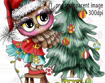 Twiggy & Toots Owl Trimming the Christmas tree  Black and white Digital Stamp