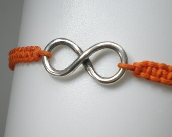 Silver Infinity, Bracelet with Orange Thread