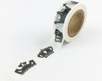 Black and White Crown Washi Tape // 15mm // Paper Tape // BBBsupplies {CR-W-P186}
