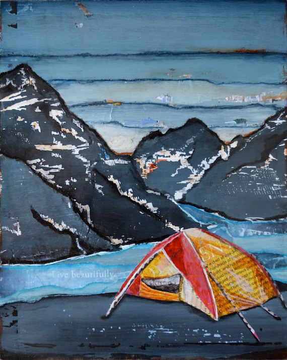ART PRINT camping tent mountains river decor print art outdoors fathers day  for him travel collage mixed media painting fall gift All Sizes