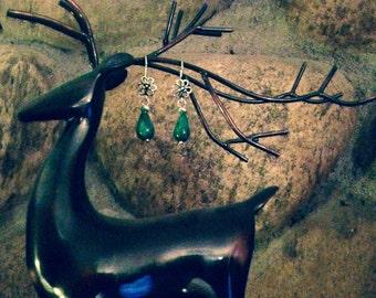 Flower and glass bead earrings