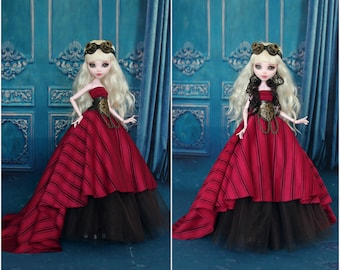 Victorian Steampunk outfit with goggles for Monster High  dolls 1/6 size