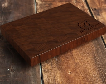 Walnut Personalized End Grain Cutting Board, Custom End Grain Cutting Board, Butcher Block, Walnut Chopping Block