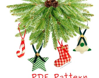 6 FABRIC Handmade Christmas Tree Decorations Easy PDF Sewing PATTERN & Instructions. Make Your Own