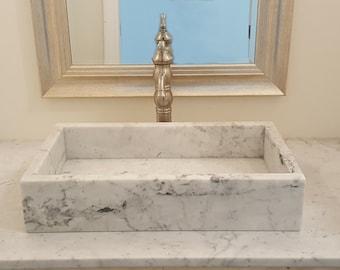 Marble Vessel Sink Italian Carrara Stone
