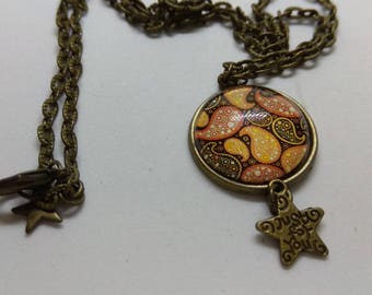 Arabesque Brown and orange glass cabochon necklace