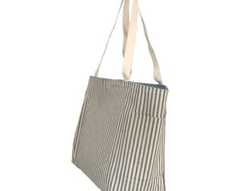 Heavy Duty Cotton Ticking Tote