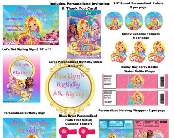 Sunny Day Inspired Party Package Printables-Sunny Day Huge Birthday Party Digital Package with Invitation & Thank You- Personalized FREE