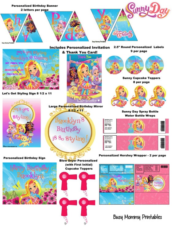 Sunny day inspired party package printables sunny day huge filmwisefo