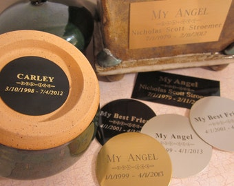 Custom Engraved Nameplate for your Custom or Ready to Ship Urn - Purchase if you would like me to add a nameplate to your urn