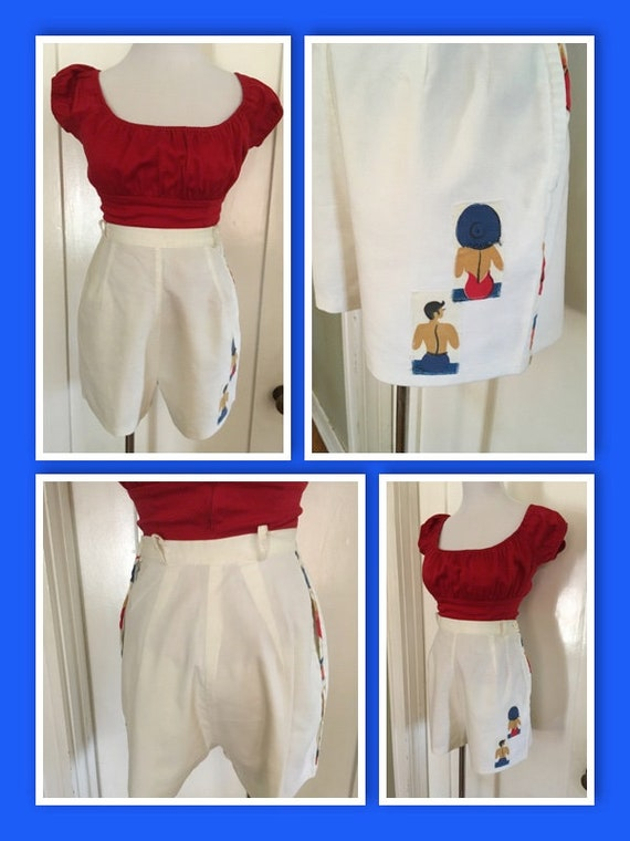 """1940s High Waist White Cotton Shorts with Sun Bathers Hidden Side Pocket and Metal Zipper S 24""""-26"""" W"""