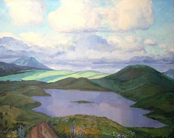 """The original picture of the USSR by the USSR artist Shelepkov G.A. 1979 year """"Altai"""""""