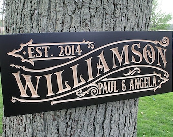 Personalized Wedding Gift, Engagement Date Sign, Housewarming Gift, Personalized Name Sign, Personalized Gift, Benchmark Signs, Maple WM