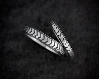 Wedding Band Set in Sterling Silver,  Chevron Ring for Ladies or Men, Silver Wedding Bands or Commitment Rings