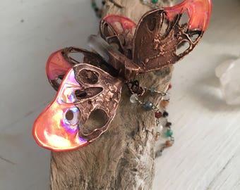 Wearable Art, Gemstone Beads, Butterfly Pendant, Electroformed Jewelry, Copper Necklace, Festival Wear, Clear Quartz, Crystal Healing