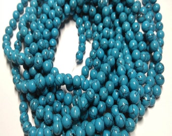 16inch  Blue Veins Turquoise Stone  round beads 4-12mm  For bracelet necklace