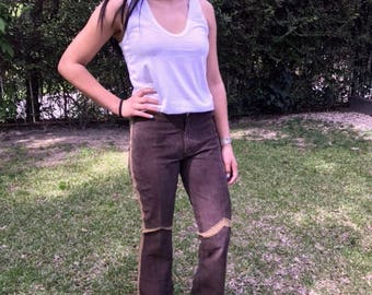 Brown leather pants,suede leather,gold crochet trimmed,size 6,6