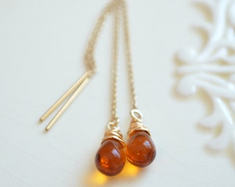 Topaz Threader Earrings, Smooth Glass Teardrop, Cable Chain, Delicate, Dainty, Wire Wrapped, Sterling Silver or Gold Filled Jewelry