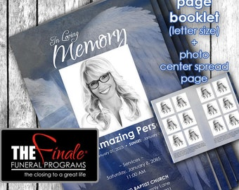 8 page booklet Angelic Wings Blue ... (printable funeral program template) + photo center-spread page, Microsoft Word Document