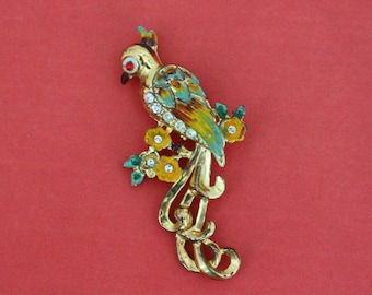 Gold and Rhinestone Tropical Bird Brooch - Vintage Costume Jewelry Pin