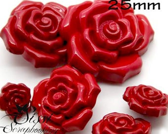 Pink PETAL fashion Camellia 25mm sewing SCRAPBOOKING set 4 MAXI flower child red buttons