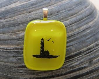 0052 - Lighthouse Fused Glass Pendant