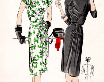 1940s 40s dress pattern asymmetric gathers bust 40 vintage sewing reproduction