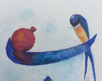 Watercolour Swallow bird and Pomegranate, Persian calligraphy, Letter B