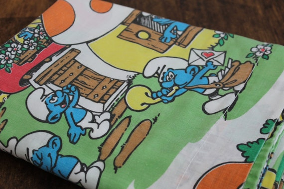 Vintage Smurf Bed sheet, TWIN Flat