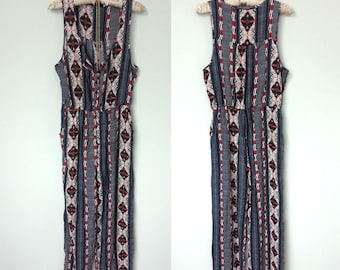 Amazing Vintage Geometric Print Button Up Jumpsuit, Perfect for Festival Season