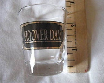 """Hoover Dam Shot Glass Clear w Black and Gold 2 1/4""""  Collectible CL21-15"""