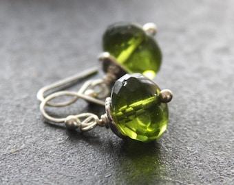 Green Czech Glass Sterling Silver Earrings, Green Earrings