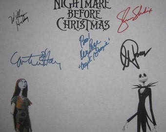 The Nightmare Before Christmas Signed Fim Movie Screenplay Script X9 Autographs Danny Elfman Tim Burton William Hickey Catherine O'Hara
