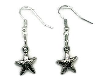 Silvertone Starfish Charm Earrings