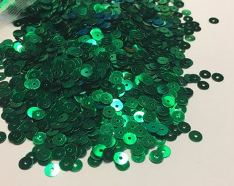 bag of green color sequins, 5 mm (33)