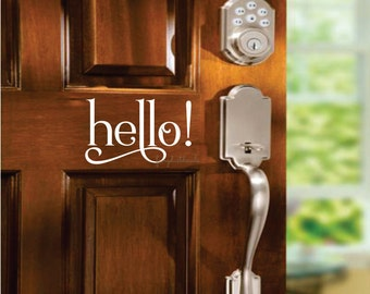 Hello Decal - Front Door Greeting - Wall Decal - Vinyl Lettering - front door hello decal - vinyl lettering