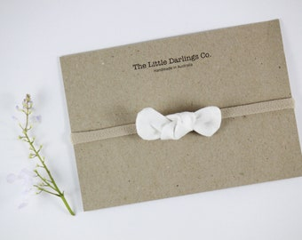 Hand Tied Hair Bow 100% Linen Mini in White // Clip or Band