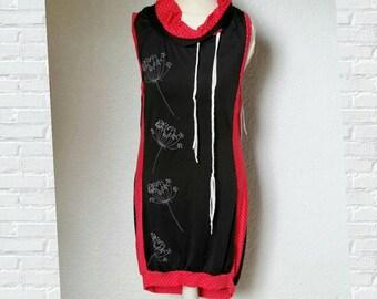 Dress Vukuhila black red points dandelions Pollunderkleid bedrucktgeflochten loop