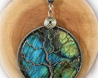 Wire wrapped, labradorite, tree of life, handmade pendant