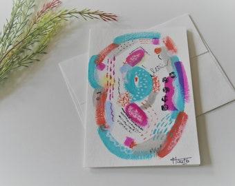art card, hand painted card, abstract card, greeting card, gift card. acrylic, pastel, bamboo card