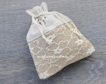 Large Rustic Lace jute gift pouch bag burlap favor bags