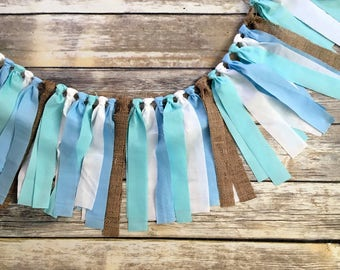 BLUE WHITE BURLAP Garland, Birthday Banner, High Chair Banner, HighChair Banner, I am One Banner, One Banner, 1st Birthday Boy, Boy Birthday