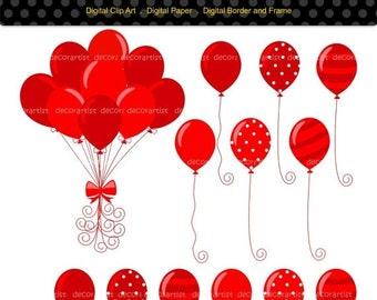 ON SALE balloons clip art, red balloon clip art, kids party Balloons, baby boys birthday balloons clip art,balloons clip art,INSTANT Downloa