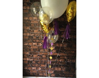 "Ballon or lot violet / confettis ballon pack / 36"" ballon / glands / or coeur ballon"