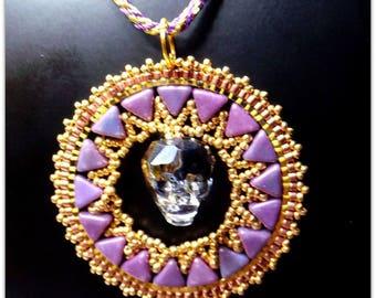 Woven beads, Crystal, hand woven Skull, elegant and modern pendant