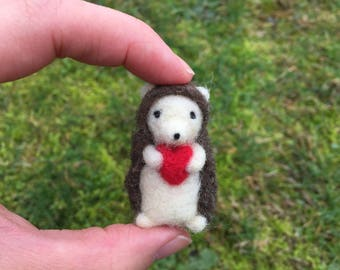 Felted Hedgehog With Heart Valentines Day Gift Tiny Miniature figure