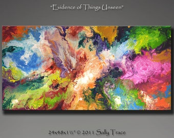 """Modern giclee print on canvas from my original abstract painting, fluid painting """"Evidence of Things Unseen"""" 24x48, spiritual painting"""
