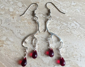 Hannibal Inspired Stag Earrings - Silver Antler Earrings with Red Glass Drops