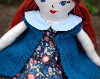 Handmade Heirloom Doll, Rag Doll, Cloth Doll, Birthday Gift, Gift Idea, Dress up Doll, Kids Room Decor
