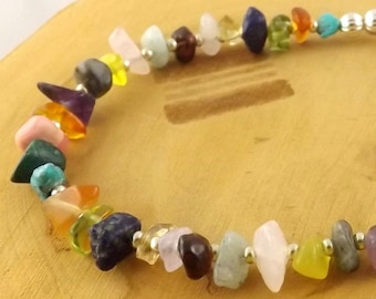 SMALL Multi stone multicolor medical alert bracelet size 5 1/2 inches